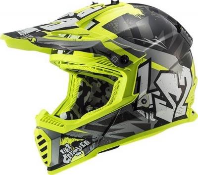 LS2 MX437 Fast Evo Mini Crusher Nero/Giallo Fluo Bambino