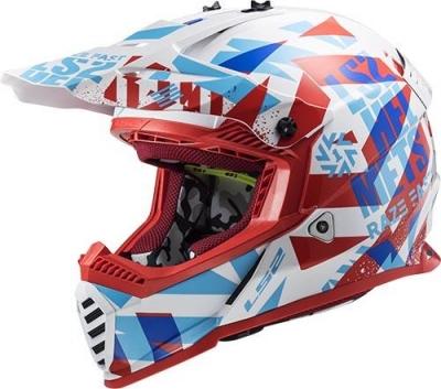 LS2 MX437 Mini Fast Evo Funky Rosso/Bianco/Blu Bambino